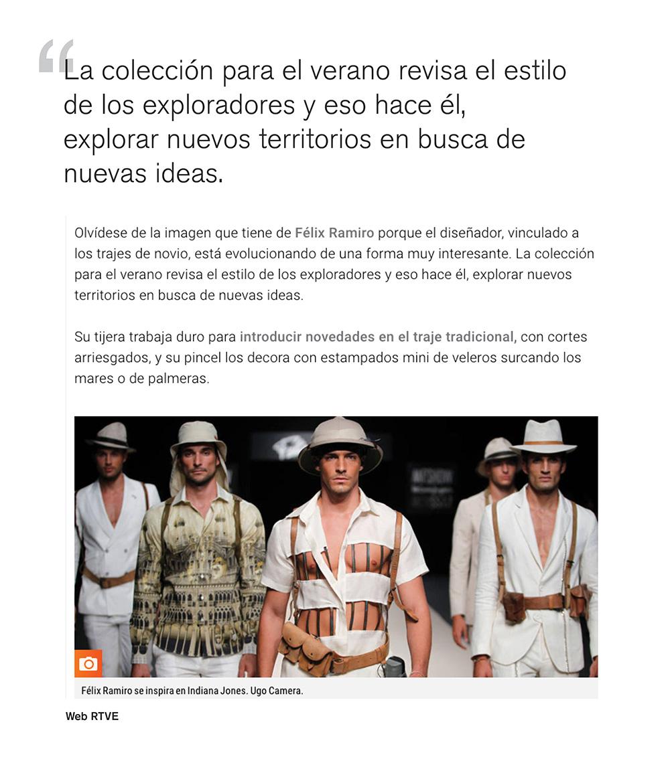 Prensa noticia del desfile en MFSHOW de félix Ramiro