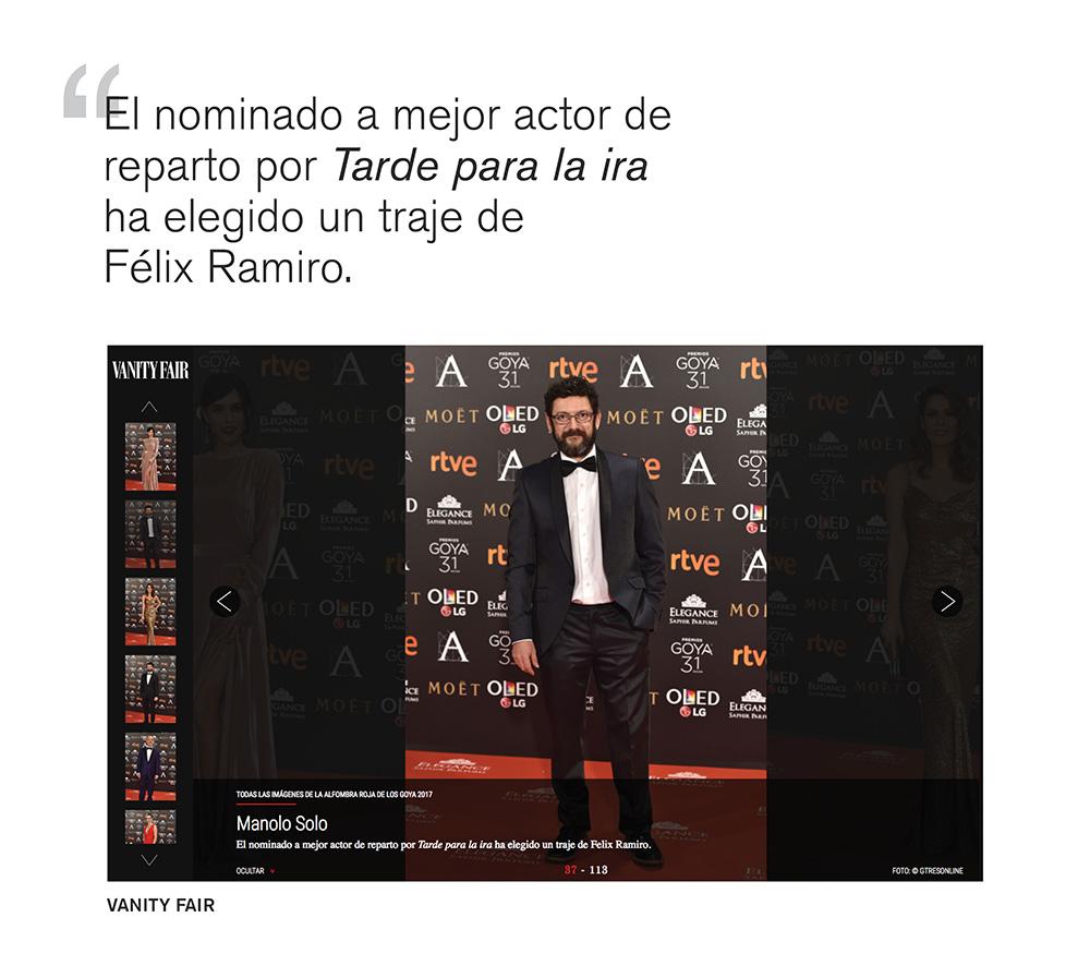 Prensa Vanity fair Manolo Solo en los premios Goya Félix Ramiro