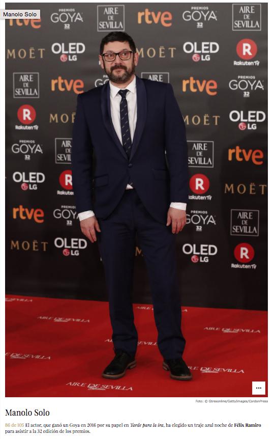 Noticia VOGUE Manolo Solo en 32 Premios Goya Félix Ramiro