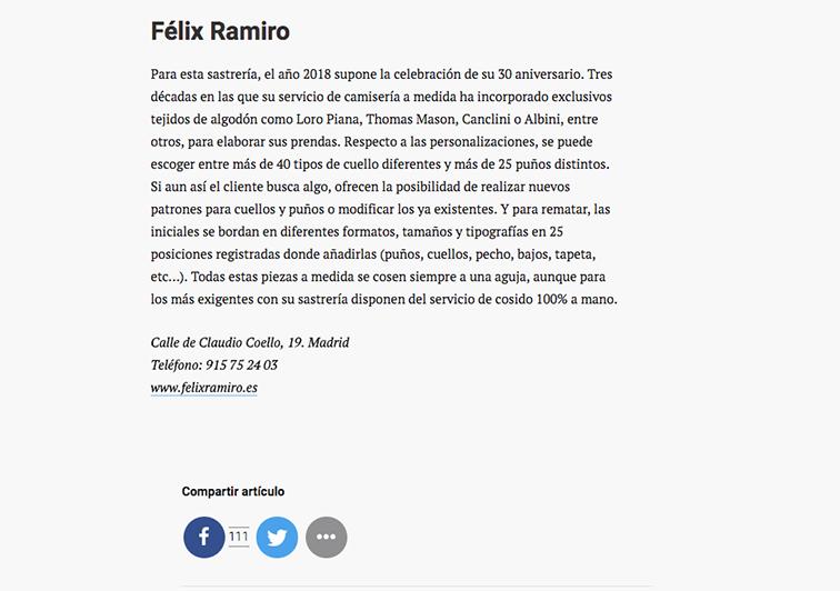Prensa cuerpo artículo camiserías GQ Félix Ramiro