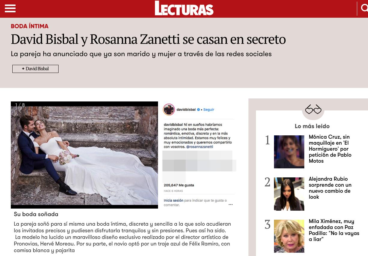 Noticia Prensa Lecturas boda David bisbal félix Ramiro