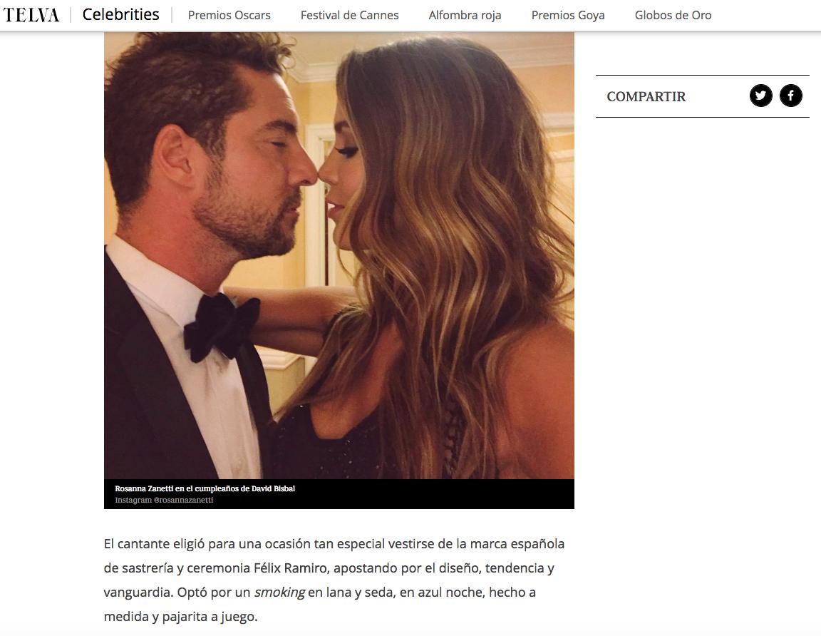 Noticia de prensa Telva boda David Bisbal félix Ramiro