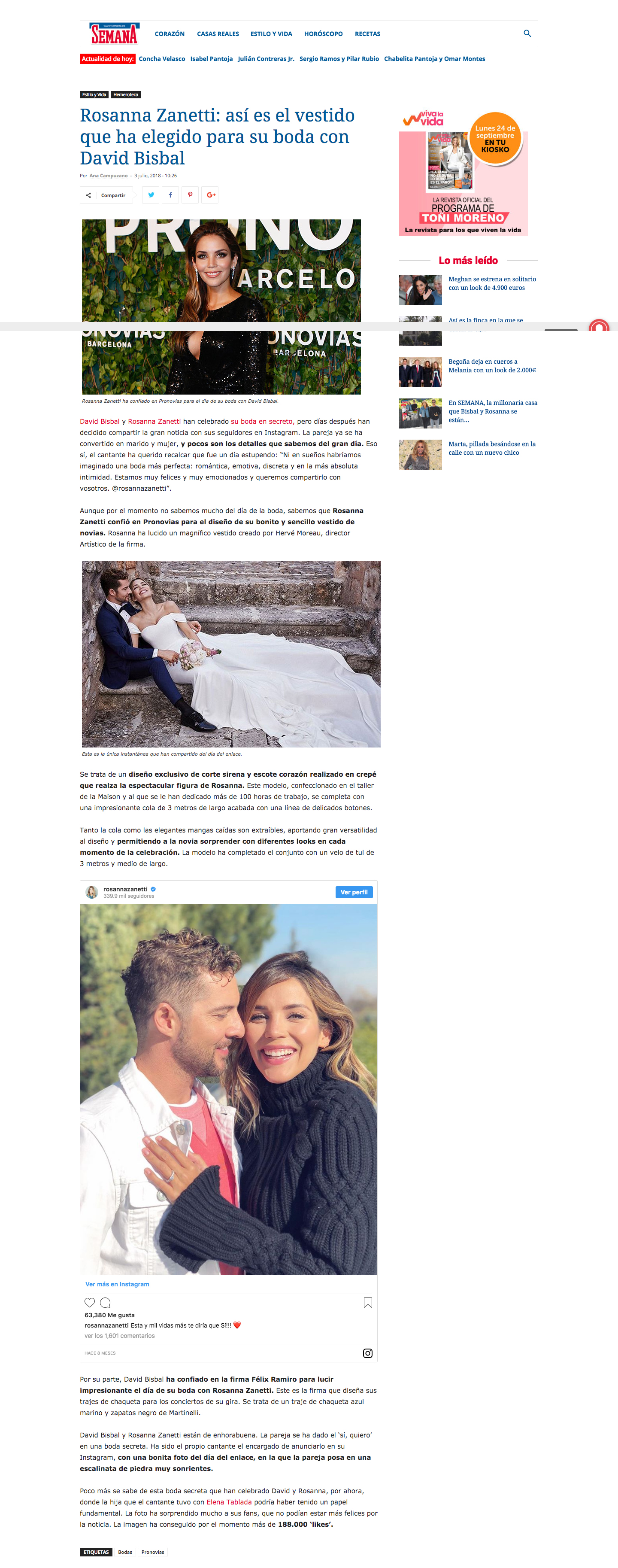 Artículo Prensa Semana boda David Bisbal Félix Ramiro