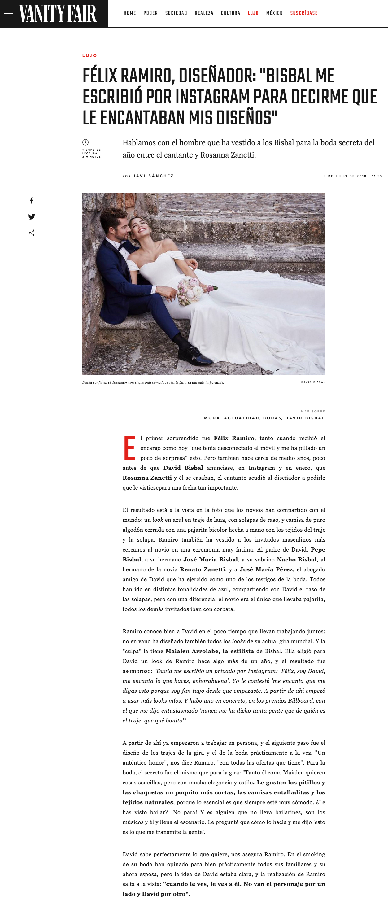 Noticia Vanity Fair boda David Bisbal