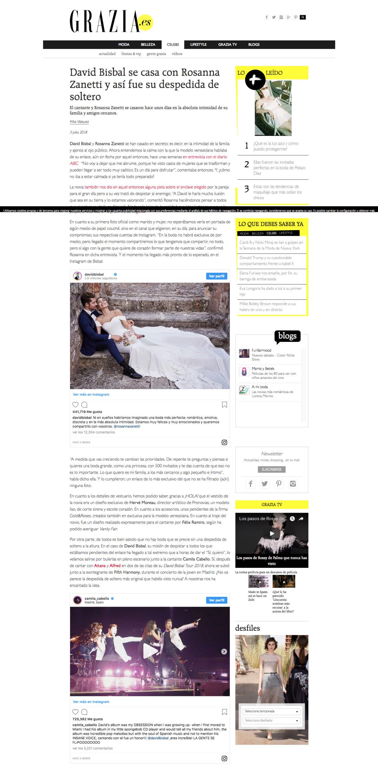 Prensa Grazia boda David Bisbal
