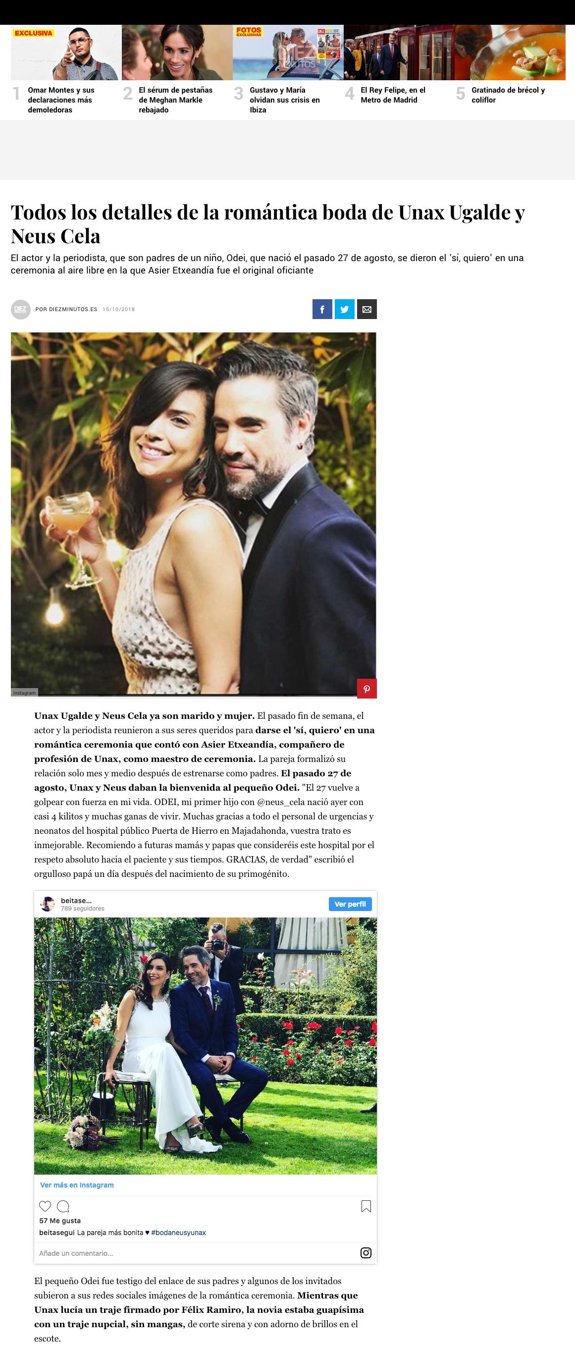 Prnesa noticia Diez minutos boda Unax Ugalde Félix Ramiro