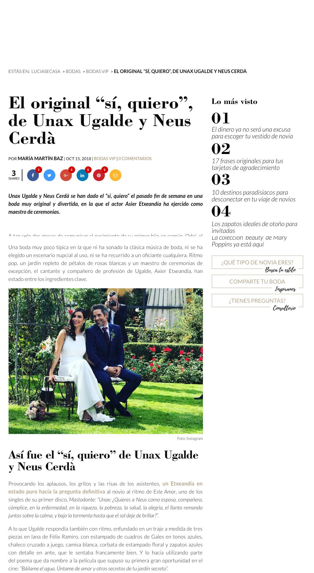 Prensa noticia Lucía Se Casa boda Unax ugalde Félix Ramiro