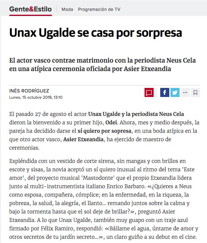 Prensa noticia El Diario Vasco boda Unax Ugalde Félix ramiro
